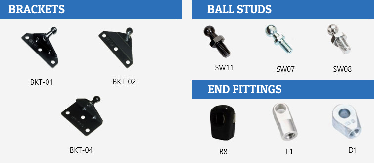 Selecting the correct lift support mounting hardware.